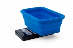 Blue Collapsible Silicone Bowl Scale 1000g/0,1g, Kapesní váha